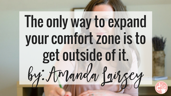 Amanda Lairsey | The Caffeinated Woman writes on expanding your comfort zone. She says the only way to actually expand it is to step outside of it. Read more on the blog.